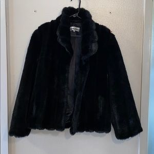Vintage Jackets & Coats - Vintage 80's black faux fur coat w/ satin lining.